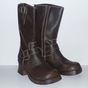 lei Brown Biker Boots Moto 8 NEW